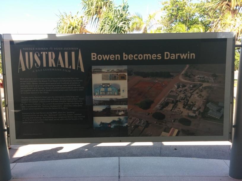 Panneau résumant le tournage du film Australia à Bowen, Queensland
