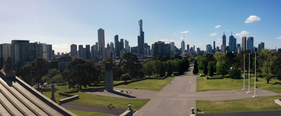 Vue du CBD de Melbourne depuis le Shrime of Remembrance, Victoria