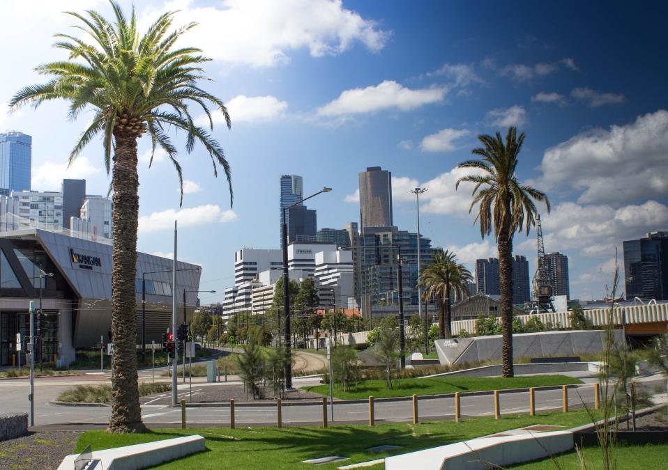 Vue du CBD de Melbourne depuis les rives de la Yarra River
